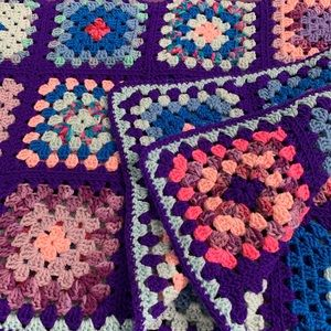Hand Knit Crochet Purple Pink Blue Throw Blanket